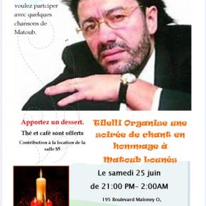 Tilelli Organise une soirée de Chant en hommage à Lounès Matroub.